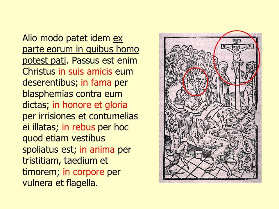 Alio modo patet idem ex parte eorum in quibus homo potest pati. Passus est enim Christus in suis amicis eum deserentibus; in fama per blasphemias cont