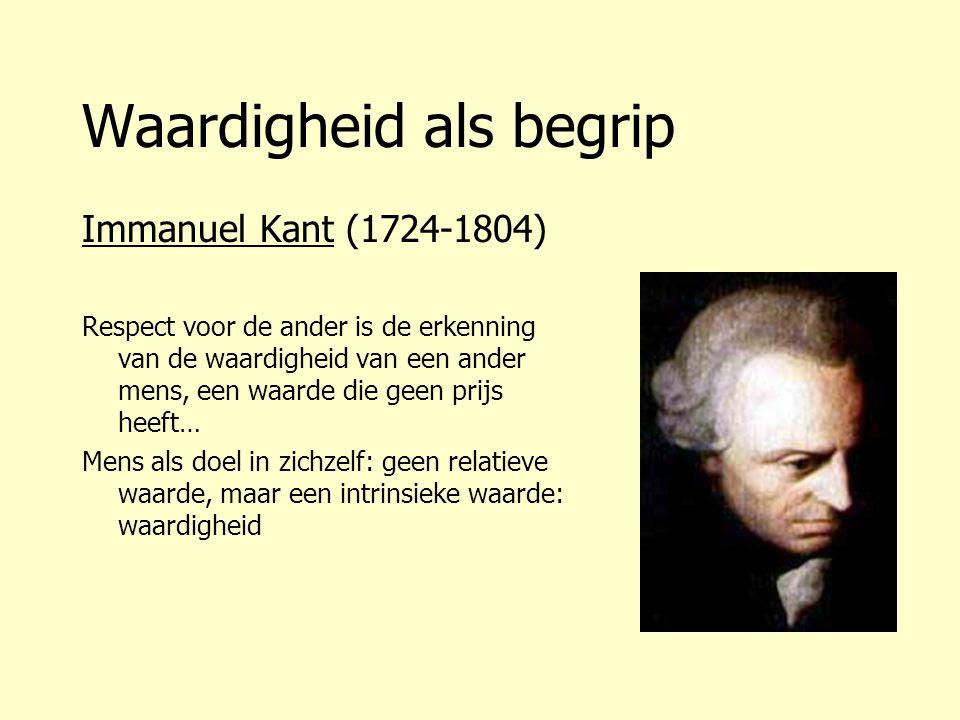 Waardigheid als begrip Immanuel Kant (1724-1804) Respect voor de ander is de erkenning van de waardigheid van een ander mens, een waarde die geen prij