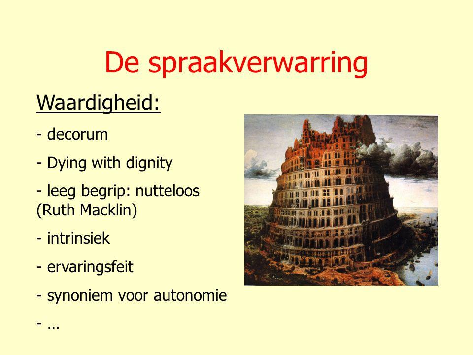 De spraakverwarring Waardigheid: - decorum - Dying with dignity - leeg begrip: nutteloos (Ruth Macklin) - intrinsiek - ervaringsfeit - synoniem voor a