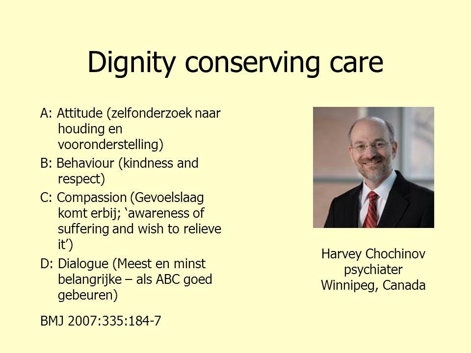 Dignity conserving care A: Attitude (zelfonderzoek naar houding en vooronderstelling) B: Behaviour (kindness and respect) C: Compassion (Gevoelslaag k