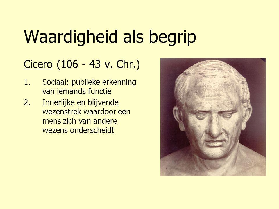 Waardigheid als begrip Cicero (106 - 43 v. Chr.) 1.Sociaal: publieke erkenning van iemands functie 2.Innerlijke en blijvende wezenstrek waardoor een m