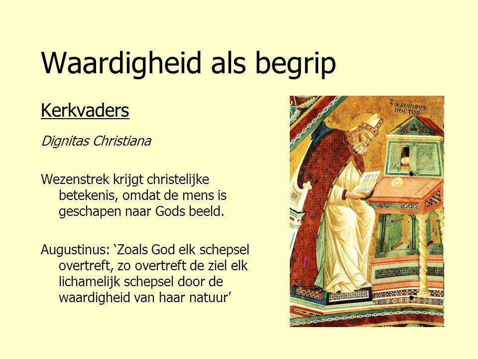 Waardigheid als begrip Kerkvaders Dignitas Christiana Wezenstrek krijgt christelijke betekenis, omdat de mens is geschapen naar Gods beeld. Augustinus
