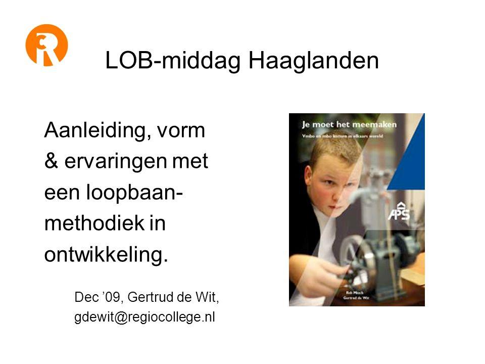 LOB-middag Haaglanden Aanleiding, vorm & ervaringen met een loopbaan- methodiek in ontwikkeling.