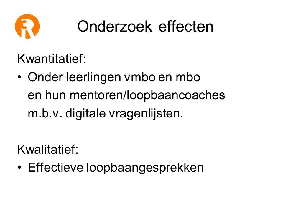 Onderzoek effecten Kwantitatief: •Onder leerlingen vmbo en mbo en hun mentoren/loopbaancoaches m.b.v.