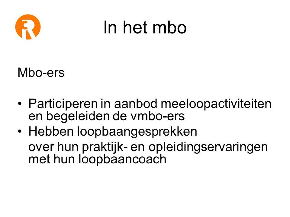 In het mbo Mbo-ers •Participeren in aanbod meeloopactiviteiten en begeleiden de vmbo-ers •Hebben loopbaangesprekken over hun praktijk- en opleidingservaringen met hun loopbaancoach