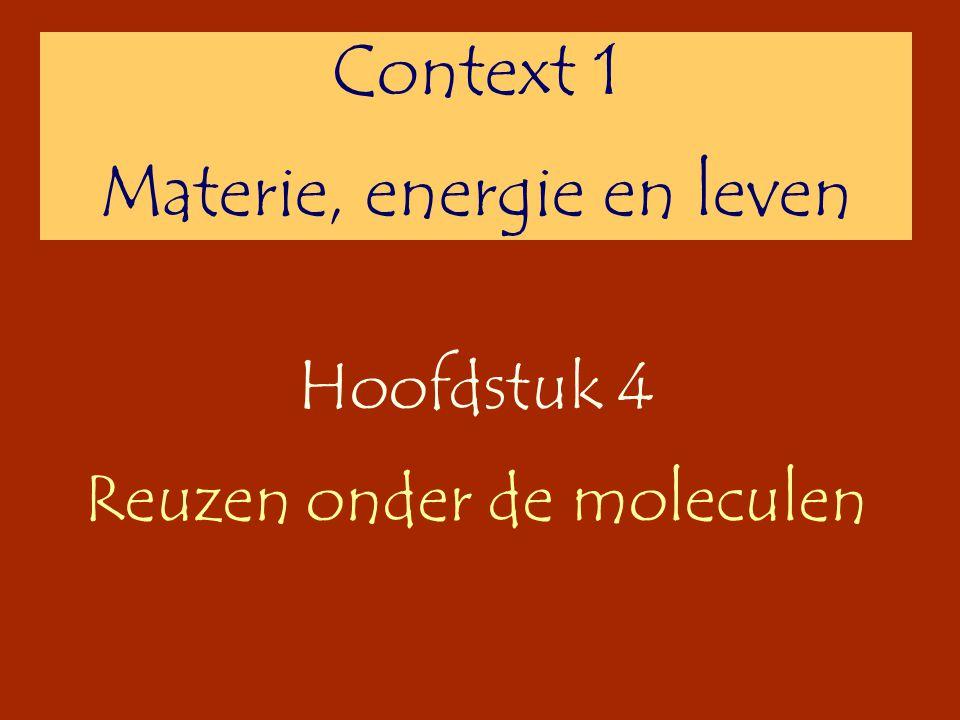 Hoofdstuk 4 Reuzen onder de moleculen Context 1 Materie, energie en leven