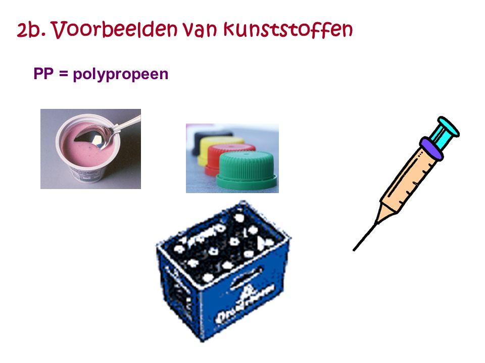2b. Voorbeelden van kunststoffen PP = polypropeen
