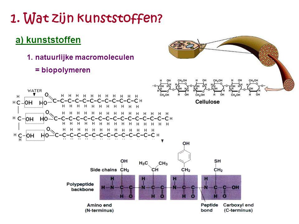 1. Wat zijn kunststoffen? 1. natuurlijke macromoleculen = biopolymeren a) kunststoffen