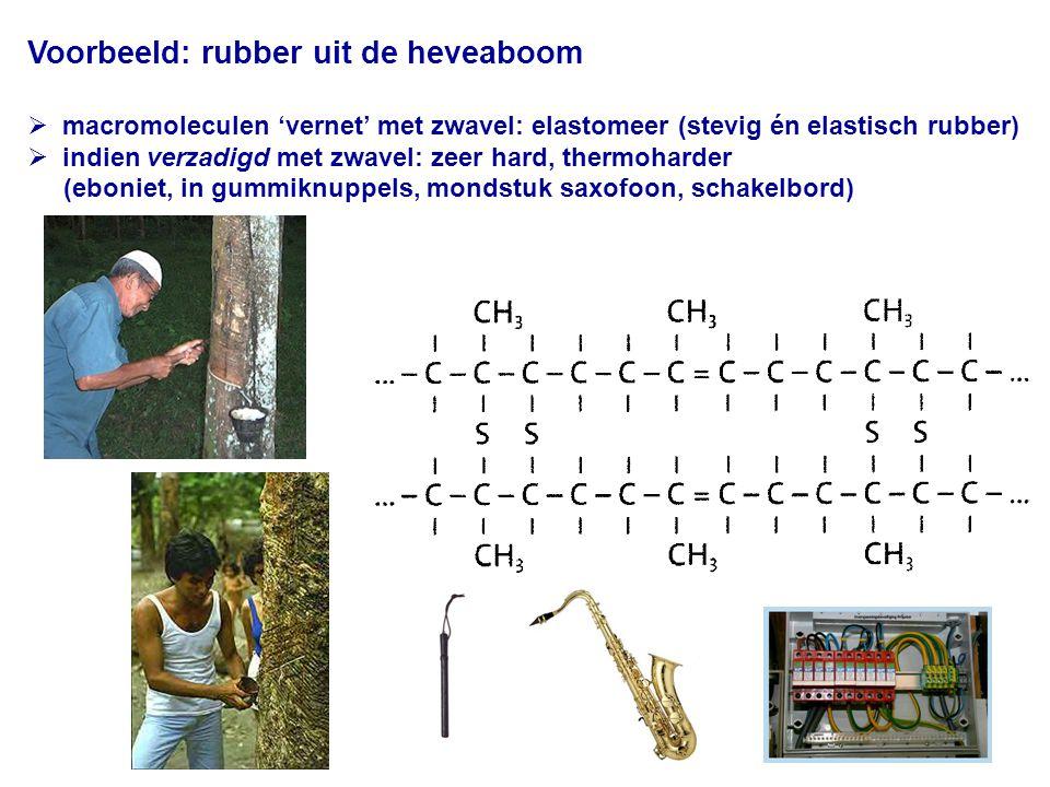 Voorbeeld: rubber uit de heveaboom  macromoleculen 'vernet' met zwavel: elastomeer (stevig én elastisch rubber)  indien verzadigd met zwavel: zeer hard, thermoharder (eboniet, in gummiknuppels, mondstuk saxofoon, schakelbord)