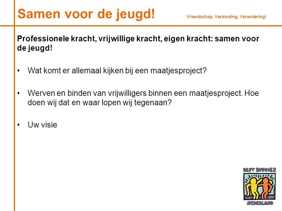 Buddy Studentvrijwilliger Best Buddies Nederland Onderwijsorganisatie/ lokaal bedrijf Zorgorganisaties Werkwijze Vriendschap, Verbinding, Verandering!