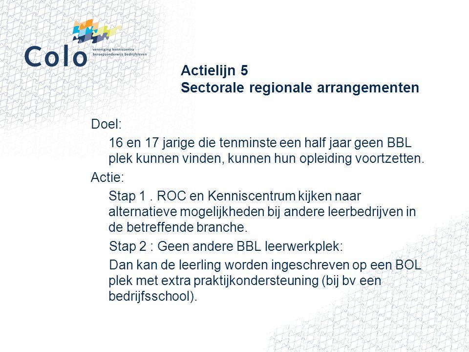 Actielijn 5 Sectorale regionale arrangementen Doel: 16 en 17 jarige die tenminste een half jaar geen BBL plek kunnen vinden, kunnen hun opleiding voor