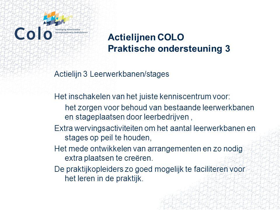Actielijnen COLO Praktische ondersteuning 3 Actielijn 3 Leerwerkbanen/stages Het inschakelen van het juiste kenniscentrum voor: het zorgen voor behoud