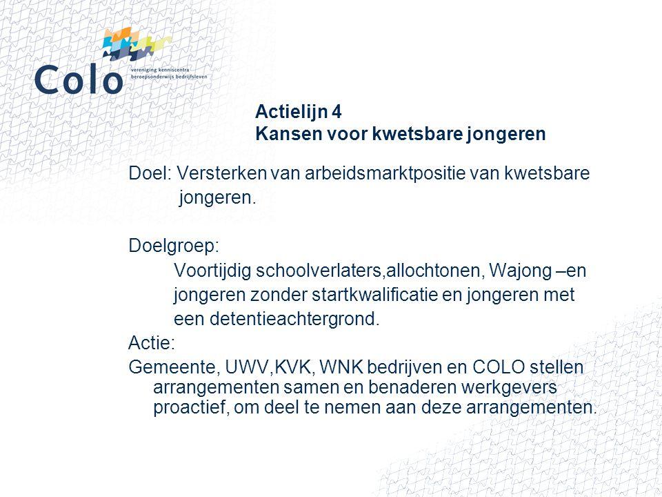 Actielijn 4 Kansen voor kwetsbare jongeren Doel: Versterken van arbeidsmarktpositie van kwetsbare jongeren. Doelgroep: Voortijdig schoolverlaters,allo