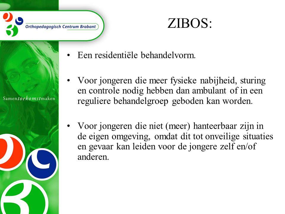 ZIBOS: •Een residentiële behandelvorm. •Voor jongeren die meer fysieke nabijheid, sturing en controle nodig hebben dan ambulant of in een reguliere be
