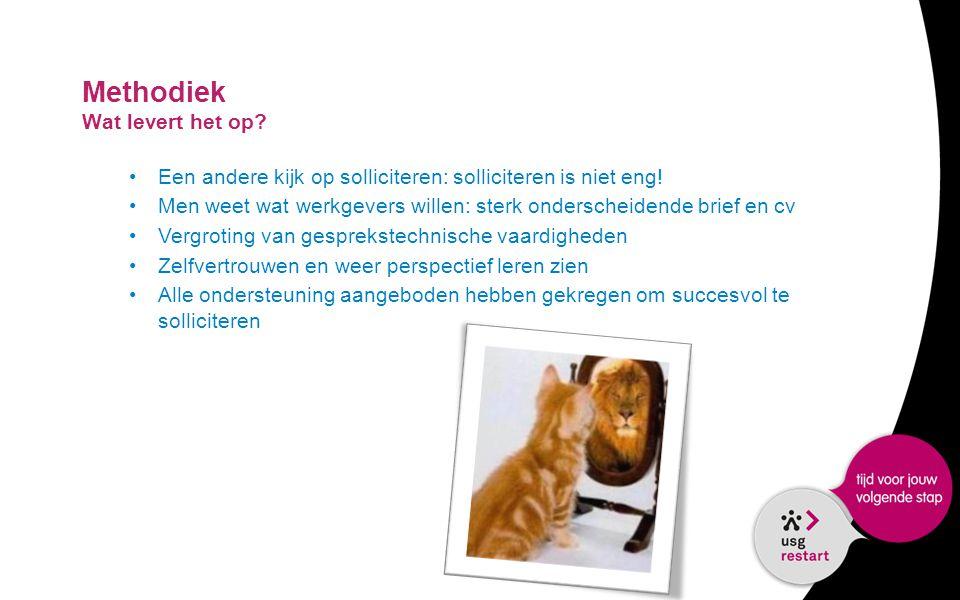 Methodiek Wat levert het op? •Een andere kijk op solliciteren: solliciteren is niet eng! •Men weet wat werkgevers willen: sterk onderscheidende brief