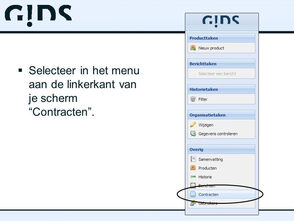  Selecteer in het menu aan de linkerkant van je scherm Contracten .