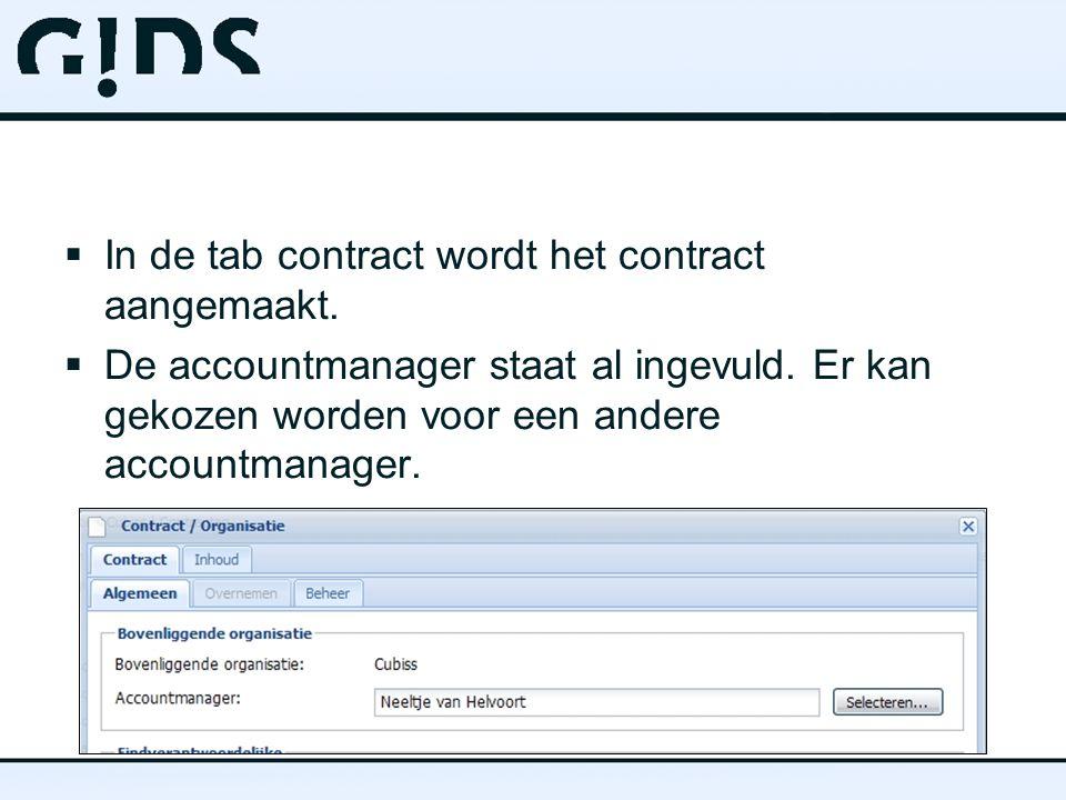  In de tab contract wordt het contract aangemaakt.