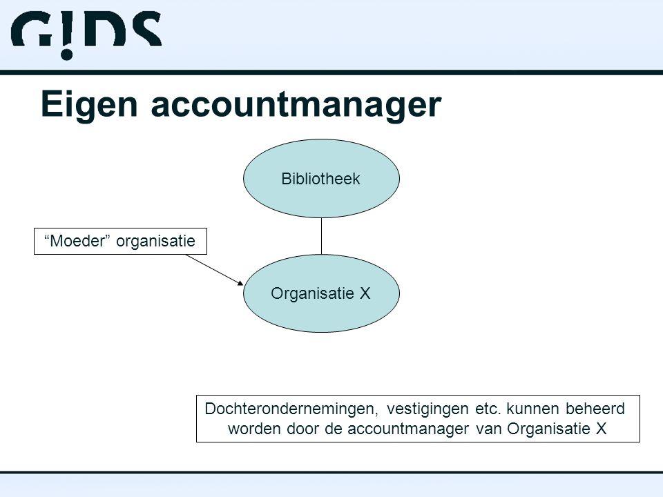 Eigen accountmanager Bibliotheek Organisatie X Moeder organisatie Dochterondernemingen, vestigingen etc.