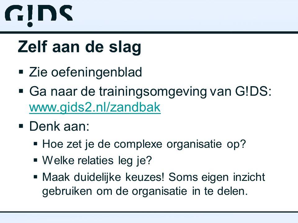 Zelf aan de slag  Zie oefeningenblad  Ga naar de trainingsomgeving van G!DS: www.gids2.nl/zandbak www.gids2.nl/zandbak  Denk aan:  Hoe zet je de complexe organisatie op.