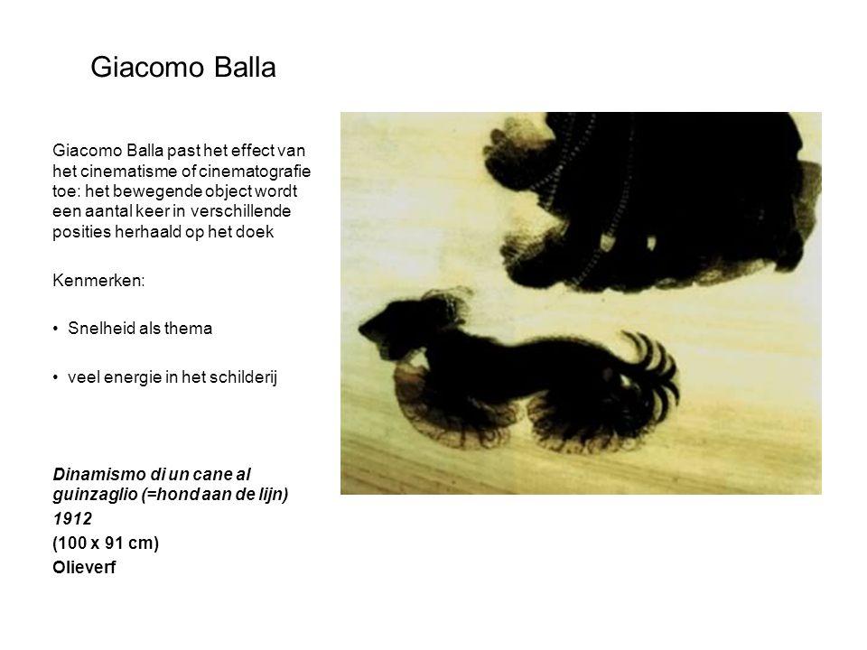Giacomo Balla Giacomo Balla past het effect van het cinematisme of cinematografie toe: het bewegende object wordt een aantal keer in verschillende pos