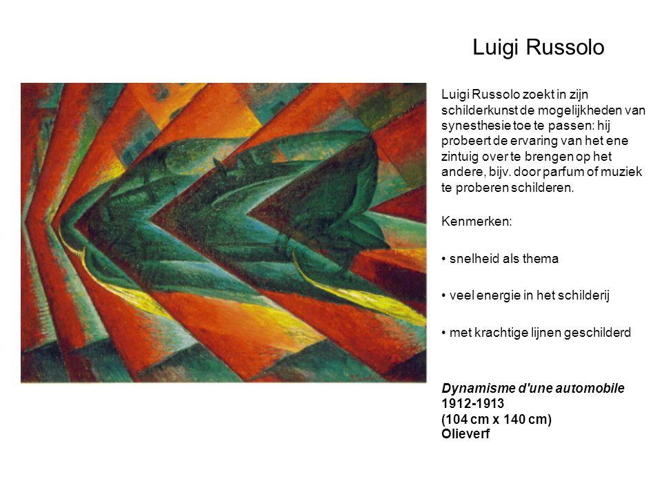 Luigi Russolo Luigi Russolo zoekt in zijn schilderkunst de mogelijkheden van synesthesie toe te passen: hij probeert de ervaring van het ene zintuig o