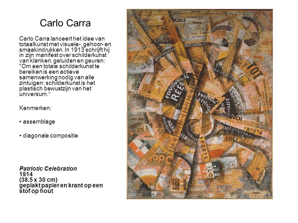 Carlo Carra Carlo Carra lanceert het idee van totaalkunst met visuele-, gehoor- en smaakindrukken. In 1913 schrijft hij in zijn manifest over schilder