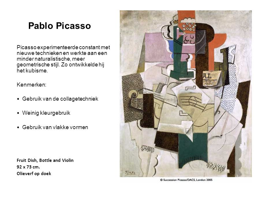 Pablo Picasso Picasso experimenteerde constant met nieuwe technieken en werkte aan een minder naturalistische, meer geometrische stijl. Zo ontwikkelde