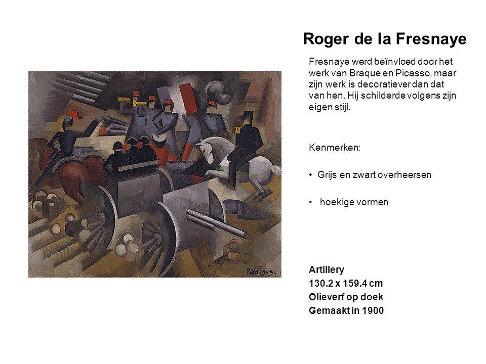 Roger de la Fresnaye Fresnaye werd beïnvloed door het werk van Braque en Picasso, maar zijn werk is decoratiever dan dat van hen. Hij schilderde volge