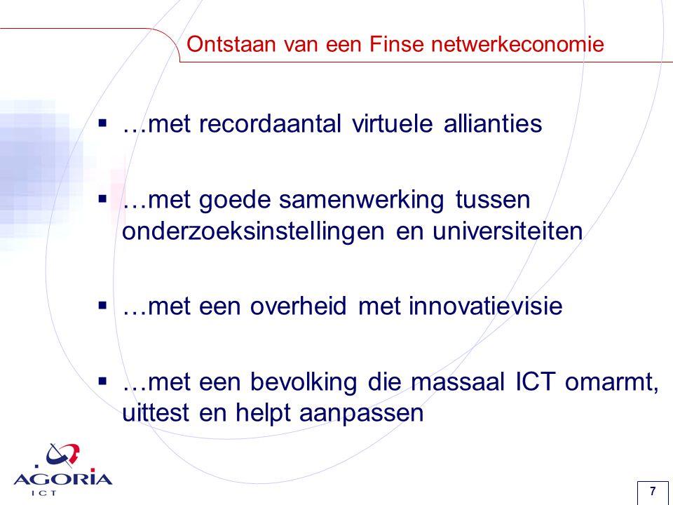 7 Ontstaan van een Finse netwerkeconomie  …met recordaantal virtuele allianties  …met goede samenwerking tussen onderzoeksinstellingen en universiteiten  …met een overheid met innovatievisie  …met een bevolking die massaal ICT omarmt, uittest en helpt aanpassen