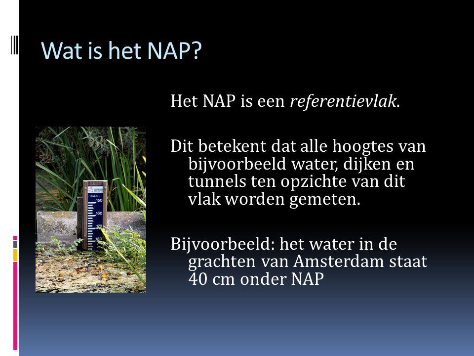 Wat is het NAP.Het NAP is een referentievlak.