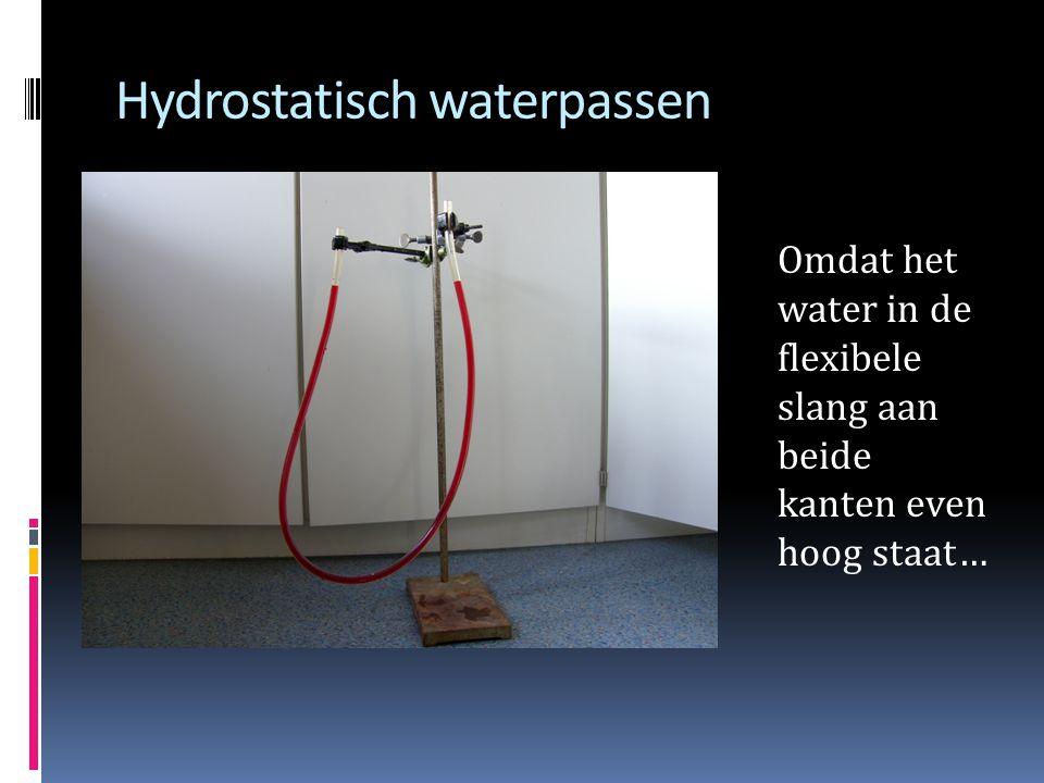 Hydrostatisch waterpassen Omdat het water in de flexibele slang aan beide kanten even hoog staat…