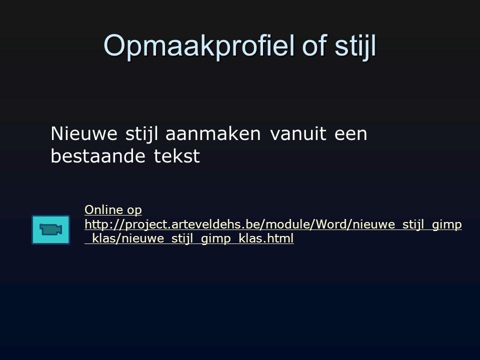 Opmaakprofiel of stijl Online op http://project.arteveldehs.be/module/Word/nieuwe_stijl_gimp _klas/nieuwe_stijl_gimp_klas.html Nieuwe stijl aanmaken vanuit een bestaande tekst
