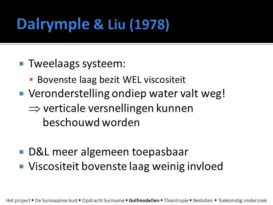  Tweelaags systeem:  Bovenste laag bezit WEL viscositeit  Veronderstelling ondiep water valt weg!  verticale versnellingen kunnen beschouwd worden