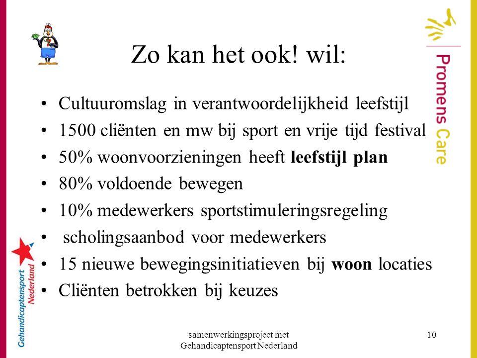 samenwerkingsproject met Gehandicaptensport Nederland 10 Zo kan het ook! wil: •Cultuuromslag in verantwoordelijkheid leefstijl •1500 cliënten en mw bi