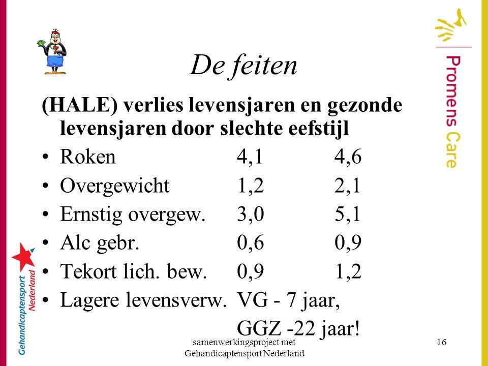 samenwerkingsproject met Gehandicaptensport Nederland 16 De feiten (HALE) verlies levensjaren en gezonde levensjaren door slechte eefstijl •Roken 4,1