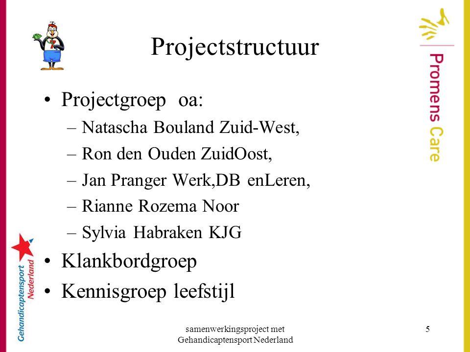 samenwerkingsproject met Gehandicaptensport Nederland 5 Projectstructuur •Projectgroep oa: –Natascha Bouland Zuid-West, –Ron den Ouden ZuidOost, –Jan