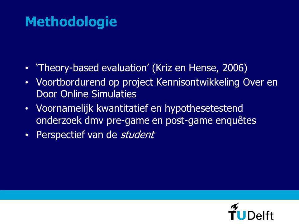 Methodologie • 'Theory-based evaluation' (Kriz en Hense, 2006) • Voortbordurend op project Kennisontwikkeling Over en Door Online Simulaties • Voornam