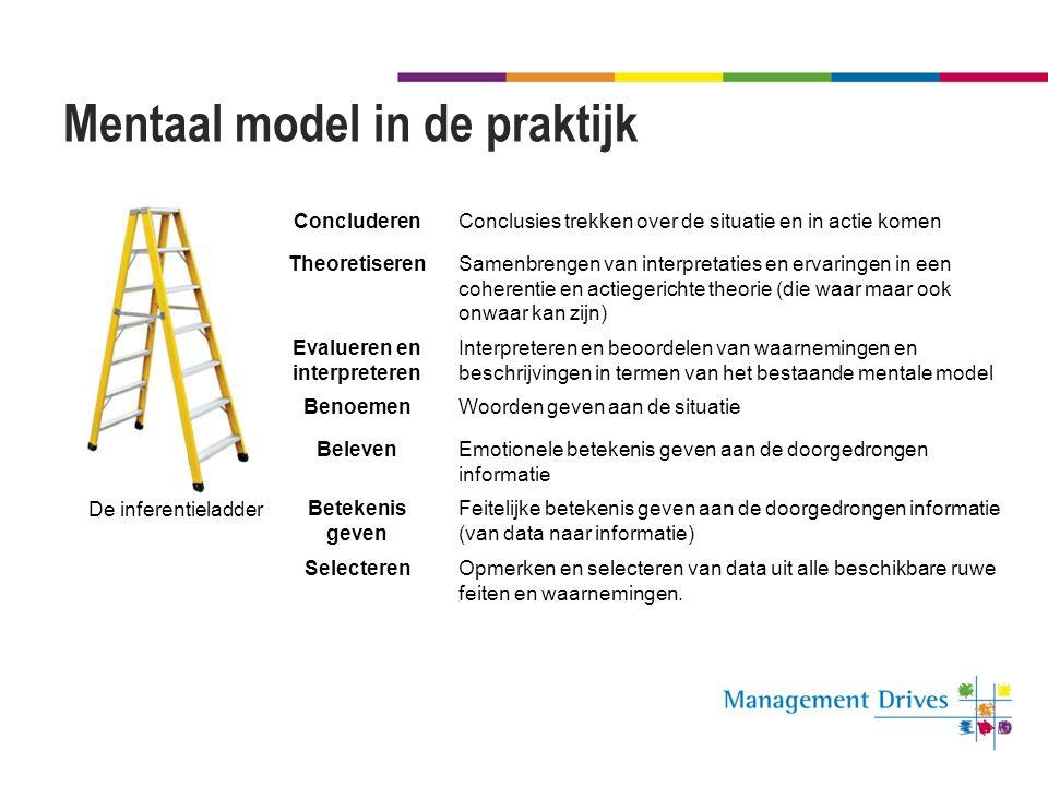 Mentaal model in de praktijk ConcluderenConclusies trekken over de situatie en in actie komen TheoretiserenSamenbrengen van interpretaties en ervaring