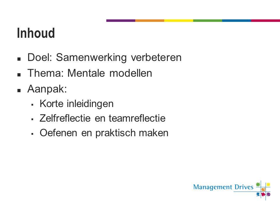 Inhoud  Doel: Samenwerking verbeteren  Thema: Mentale modellen  Aanpak:  Korte inleidingen  Zelfreflectie en teamreflectie  Oefenen en praktisch