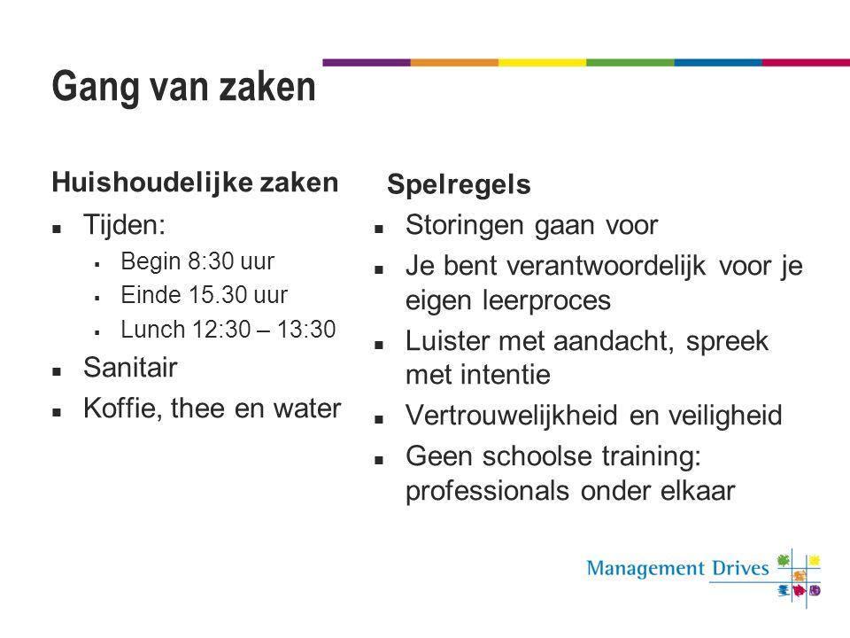 Gang van zaken Huishoudelijke zaken  Tijden:  Begin 8:30 uur  Einde 15.30 uur  Lunch 12:30 – 13:30  Sanitair  Koffie, thee en water Spelregels 