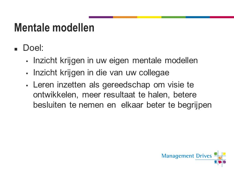Mentale modellen  Doel:  Inzicht krijgen in uw eigen mentale modellen  Inzicht krijgen in die van uw collegae  Leren inzetten als gereedschap om v