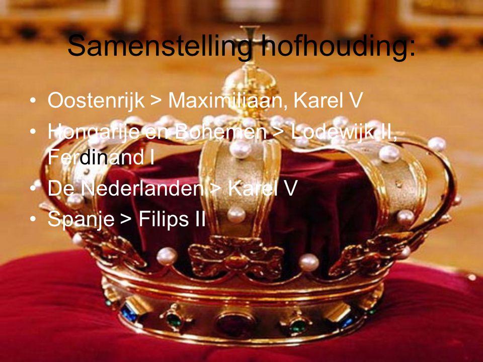 Samenstelling hofhouding: •Oostenrijk > Maximiliaan, Karel V •Hongarije en Bohemen > Lodewijk II, Ferdinand I •De Nederlanden > Karel V •Spanje > Fili