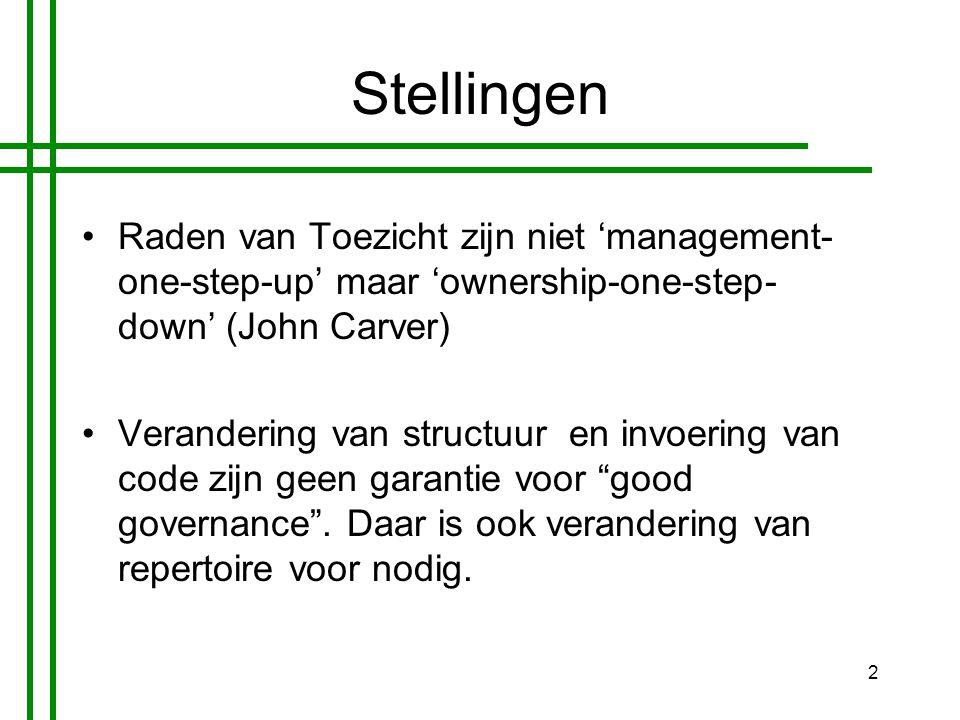 2 Stellingen •Raden van Toezicht zijn niet 'management- one-step-up' maar 'ownership-one-step- down' (John Carver) •Verandering van structuur en invoering van code zijn geen garantie voor good governance .