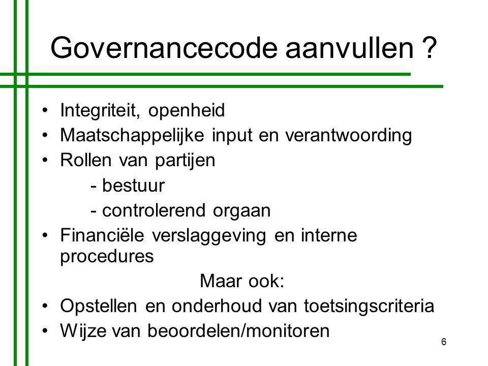 6 Governancecode aanvullen .