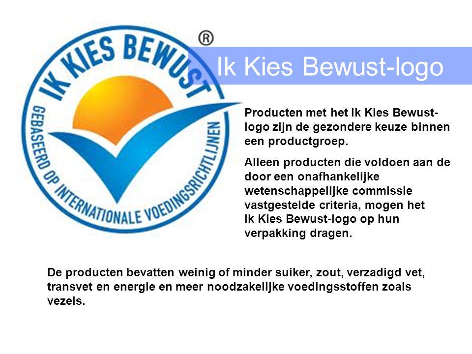 Ik Kies Bewust-logo Producten met het Ik Kies Bewust- logo zijn de gezondere keuze binnen een productgroep.