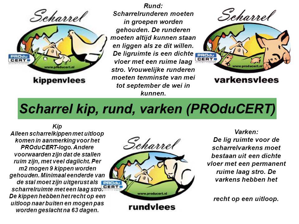 Scharrel kip, rund, varken (PROduCERT) Varken: De lig ruimte voor de scharrelvarkens moet bestaan uit een dichte vloer met een permanent ruime laag stro.