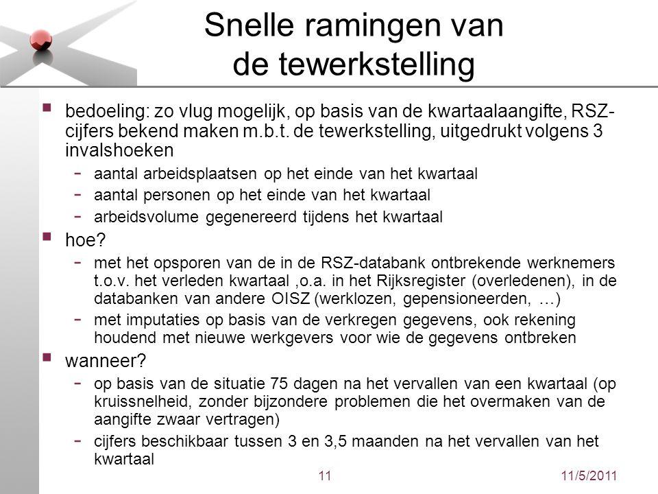 11/5/201111 Snelle ramingen van de tewerkstelling  bedoeling: zo vlug mogelijk, op basis van de kwartaalaangifte, RSZ- cijfers bekend maken m.b.t. de