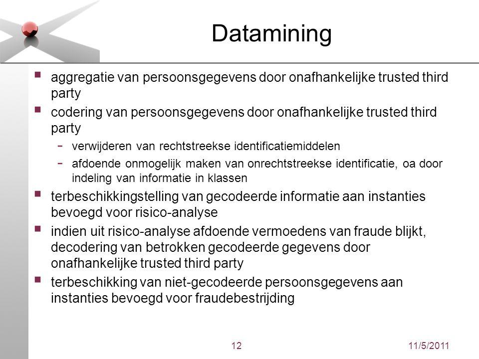 11/5/201112 Datamining  aggregatie van persoonsgegevens door onafhankelijke trusted third party  codering van persoonsgegevens door onafhankelijke t