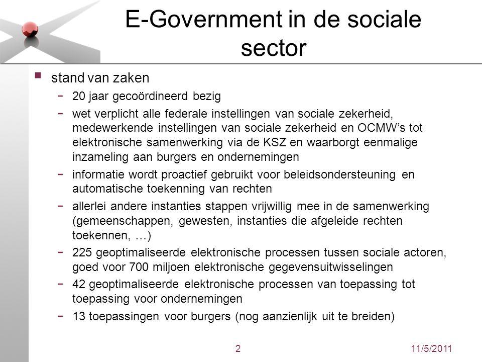 11/5/20112 E-Government in de sociale sector  stand van zaken - 20 jaar gecoördineerd bezig - wet verplicht alle federale instellingen van sociale ze