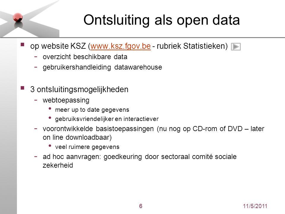 11/5/20116 Ontsluiting als open data  op website KSZ (www.ksz.fgov.be - rubriek Statistieken)www.ksz.fgov.be - overzicht beschikbare data - gebruiker